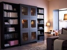 IKEA - Black-brown storage combination with open shelves and tempered glass doors Living Room Decor Furniture, Ikea Living Room, Living Room Storage, White Bookshelves, Ikea Billy Bookcase, Open Shelves, Black Bookcase, Book Shelves, Coffee Table Inspiration