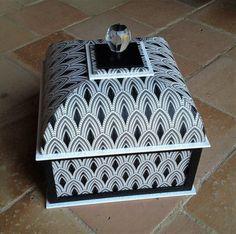 La  jolie boite de Marie-Jo faite avec Patricia lors d'un stage cartonnage à la maison.