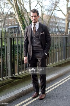 Model David Gandy wearing a Hardy Aimes suit on day 2 of London Collections: Men on January 10, 2015 in London, England.