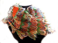 """Curly Ruffle Scarf """"Peacock on Fire"""" Scarf - Original Desighn, Cha Cha Cha Style - the PATTERN (.pdf) - instant download."""
