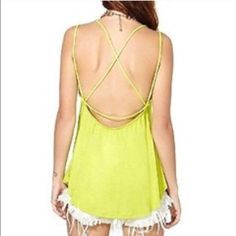 "Long neon green backless shirt Neon green tank top with low back, open sides, strapped back. Perfect with jeans or leggings. Perfect shirt to show off some side boob. Mannequin Dimensions: Chest (34"") x Shoulders (36"") x Waist (27"") x Hips (35.4"") x Neck (12.5"") Tops Tank Tops"
