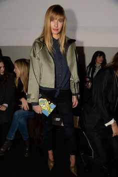 Jessica Hart Front Row at Rag & Bone Fall 2015 [Photo by Steve Eichner]