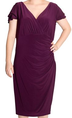 Ralph Lauren NEW Plus Size Flutter-Sleeve Surplice Dress, 14W only $39 (was $134) #RalphLauren #WrapDress #Cocktail