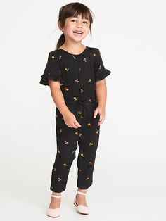 Old Navy Cinched-Waist Button-Front Romper for Baby Kids Outfits Girls, Toddler Girl Outfits, Baby Girl Dresses, Baby Dress, Toddler Girls, Baby Girl Jumpsuit, Toddler Jumpsuit, Jumpsuit For Kids, Toddler Boy Haircuts