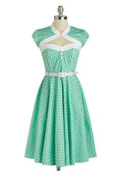 Soda Shop Sweetie Dress - Cotton, Long, Mint, White, Polka Dots, Buttons, Cutout, Belted, Casual, Vintage Inspired, A-line, Cap Sleeves, Day...