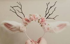 Good idea bunny ears for Halloween costumes for the girls. flowers, headbands
