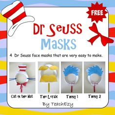Dr Seuss Masks Free Craft Activity - TeachEzy Dr Seuss Day, Dr Seuss Lorax, Dr. Seuss, Pre School, Early Childhood, Dr Seuss Activities Preschool, Classroom Activities, Craft Activities, Preschool Crafts