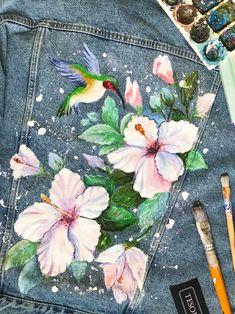 Painted Denim Jacket, Painted Jeans, Painted Clothes, Hand Painted, Painted Shorts, Denim Paint, Custom Clothes, Diy Clothes, Customised Clothes