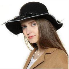 cb41377968f4e3 Feather fringe floppy hat for women soft wool felt hats winter wear