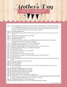 Mother's Day free printable photo checklist | TheMombot.com