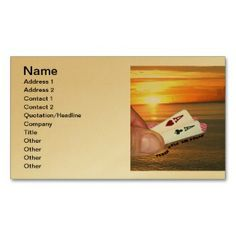 Texas Hold 'em Sunset Business Card printed on a gold colored background.  Other colors available.