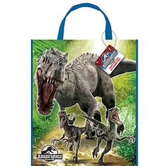"13"" x 11\"" Large Plastic Jurassic World Goodie Bags, 12ct *** Be sure to check out this awesome product. (This is an affiliate link) #partysnacks"