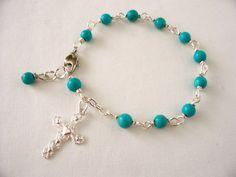 turquoise rosary bracelet,  rosary bracelet, cross bracelet, prayer beads, catholic rosary, turquoise jewelry, great Christmas gift idea