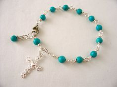 turquoise rosary bracelet,  rosary bracelet, cross bracelet, prayer beads, catholic rosary, turquoise jewelry, great Christmas gift idea