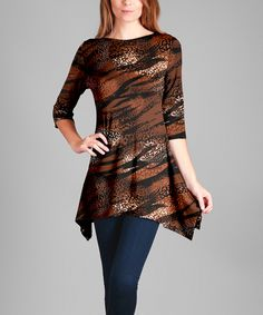 Look what I found on #zulily! Brown Abstract Sidetail Tunic - Plus Too by Lily #zulilyfinds
