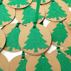 Handmade Christmas Tags with Ribbon- Green Glitter Christmas Trees (Set of 6). $4.50, via Etsy.
