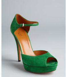 emerald green peep toe pumps/ heels pics | Gucci Emerald Suede Ankle Strap Peep Toe Platform Pumps in Green ...