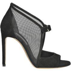 Casadei Sheer Mesh Panel Suede Sandals