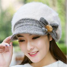 df1edd8a Elegance bow beret hat for women Rabbit fur newsboy cap winter wear