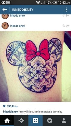 Disney minnie mouse tattoo bow mandala omggggg my fave design with my nick name