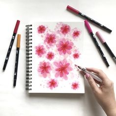 100 Days of Flowers — created using Tombow Dual-Tip Brush Markers and water.