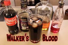 Walker's Blood (The Walking Dead cocktail) Ingredients: 1 oz Bourbon 1 oz Blackberry Brandy Coca-Cola (to fill) 1 splash Grenadine Directions: Mix the ingredients in a highball glass. See the video below for more details. The Walking Dead is back on. Cocktail Drinks, Fun Drinks, Alcoholic Drinks, Cocktails, Beverages, Walking Dead Birthday, Evil Dead, Coffee With Alcohol, Zombie Party
