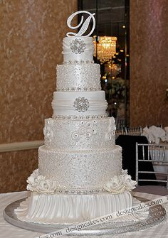 Pearled white wedding cake