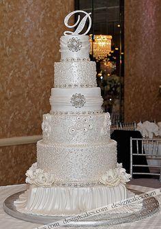 Pearled white wedding cake