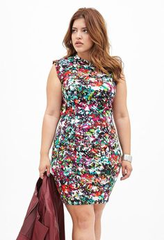 """curveappeal: """"Denise Bidot for Forever 21 42 inch bust, 34 inch waist, 47 inch hips • Abstract Watercolor Print Dress • Tribal-Inspired Leggings • Palm Print Bodycon Dress at Forever 21 (via..."""