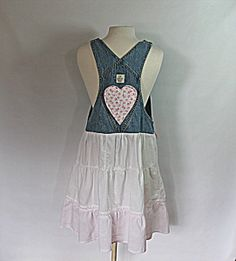 Bib Overall Dress | Women's Clothing | Upcycled Gap Bibs | Shabby Chic Clothes on Wanelo