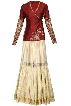 Maroon embroidered angrakha short jacket and gold floral printed gharara set available only at Pernia's Pop Up Shop.