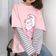 Aesthetic Drinks Tee - pig tshirt peachy aesthetic Best Picture For vsco outfits For Your Taste You are looking for some - Pastel Fashion, Kawaii Fashion, Cute Fashion, Look Fashion, Korean Fashion, Feminine Fashion, Lolita Fashion, Ulzzang Fashion, Fashion Styles