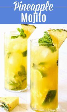 Pineapple Rum Drinks, Pineapple Mint, Pineapple Cocktail, Mojito Drink, Mint Mojito, Juice Drinks, Margarita Recipes, Refreshing Drinks, Recipes