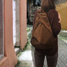 Handmade backpack made in  stonewashed canvas by iyiamihandbags, $109.00