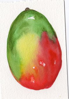 Mango painting Original Watercolor 4 x 6 fruit by SharonFosterArt, $10.00