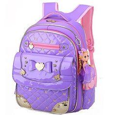 Kids School Backpacks Big Waterproof PU Leather Girls Bag Student Bookbag  Purple  37c771ef88046