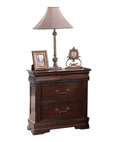 emerald home riviera cherry 2 drawer nightstand with marble top