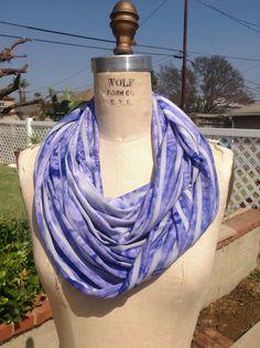 Purple and grey tie dye stripe infinity scarf by DeZeStar on Etsy