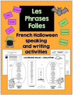 French Halloween Speaking and Writing Activities. These activities are centered around a personal mini word wall that is organized by nouns, verbs, and prepositions to scaffold students as they create their own sentences in French.