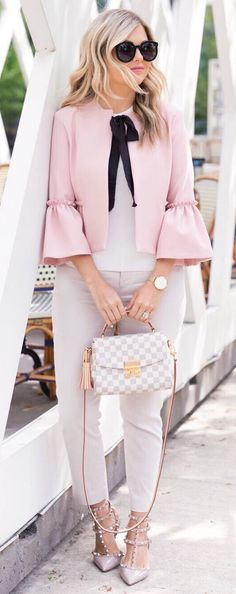 #summer #outfits  Pink Jacket + White Top + Grey Pants + Gingham Bag // Shop This Outfit In The Link