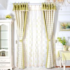 Green Brief Cotton And Linen Bedroom Ready Made Plaid Curtains(No Valance) Plaid Curtains, Striped Curtains, Lined Curtains, Curtain Fabric, Cool Furniture, Furniture Design, Blackout Curtain Lining, Linen Bedroom, Decorate Your Room