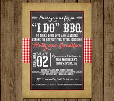 I Do BBQ Customized Bridal Shower Invitation Wedding Couples Shower Invite Card Engagement Party Burlap Gingham DIY jpeg pdf Printable by andyneal331 on Etsy
