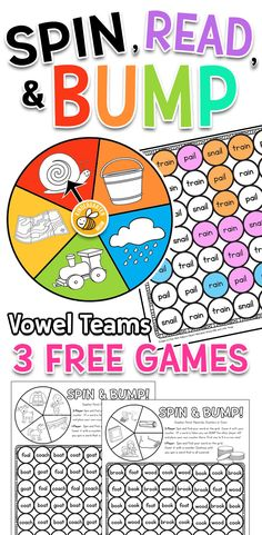 Free Reading Games for Kindergarten! A collection of three free Spin, Read, and BUMP learning games for children working on vowel teams.  These games are hands-on and tons of fun! https://kindergartenmom.com/printable-learning-games-activities/spin-read-bump-games/?utm_campaign=coschedule&utm_source=pinterest&utm_medium=Preschool%20Kindergarten%20Mom&utm_content=Spin%2C%20Read%2C%20and%20Bump%20Games
