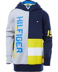 Tommy Hilfiger Big Boys Pieced Pullover Hoodie - Blue S Tommy Hilfiger Toddler, Tommy Hilfiger Outfit, Shirts & Tops, Boys Shirts, Pajama Romper, Plus Size Activewear, Red Hoodie, Dresses With Leggings, Baby Girl Newborn