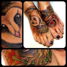 Owl tattoo on both feet