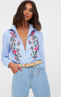 Blue Embroidered Striped ShirtPut a twist on the OG pinstripe shirt with this blue button u...