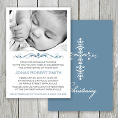 Beautiful Christening photo invitation for a little boy designed & printed on double sided card by Peach Perfect Australia. Photo Invitations, Custom Wedding Invitations, Invitation Design, Invites, St Michael Catholic Church, Michelle Thomas, Christening Photos, Christening Invitations, Birth Announcement Photos