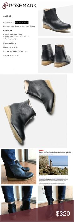 Luxe Eco-Friendly VEGAN Boots by SYDNEY BROWN! EUC GORGEOUS ECO-FRIENDLY SUSTAINABLE ANIMAL FRIENDLY HANDMADE VEGAN LUXURY BOOTS BY SYDNEY BROWN! Excellent pre-loved condition. This is the High Crepe Boot in Carbon/Crepe. Size 7.5   • Faux leather body  • Side velcro wrap closure  • Rubber sole Sydney Brown Shoes Ankle Boots & Booties
