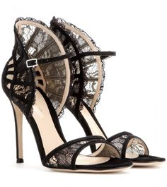 Gianvito Rossi Suede and Lace Sandals in Black