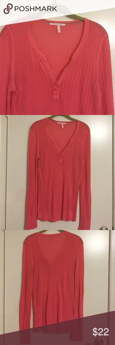 Victoria's Secret v-neck light weight top Victoria's Secret v-neck light weight top (knitted but much lighter than a sweater - very airy) in coral pink  L in excellent condition Victoria's Secret Tops